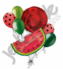 7 pc Red Watermelon Slice Picnic Balloon Bouquet Party Decoration Luau Birthday