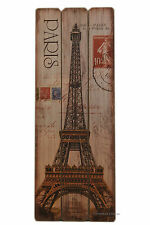 """Large 31.5"""" x 11.75"""" Wood Vintage Paris Eiffel Tower French Wall Art Plaque Sign"""