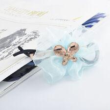 crystal womens hair bun bow clips wrap flower headband hairpin clamp wedding
