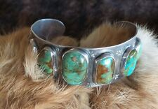 Vintage INDIAN Very Old PAWN NAVAJO STERLING Silver  TURQUOISE CUFF Bracelet