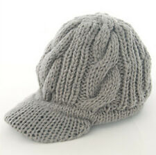 Fashion Gray color Women Girl Winter Knitted Ski Beanie Wool Peaked Hat Cap