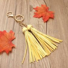 DOUBLE TASSEL BAG CHARM KEY RING GOLD YELLOW