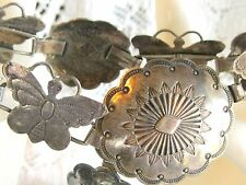 """ANTIQUE / VINTAGE NATIVE AMERICAN STERLING SILVER CONCHO BUTTERFLY LINK BELT 35"""""""