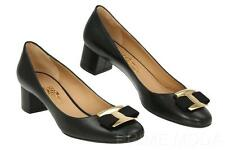 NEW SALVATORE FERRAGAMO NINNA BLACK LEATHER LOGO HEELS PUMPS SHOES 5 M