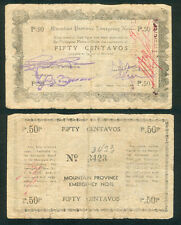 Philippine 50 Centavos  Mountain Province COUNTERSIGNED WW2 Note Jun  1943