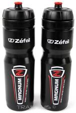 2 Pack Zefal Magnum 33oz 1L Wide-Mouth Bike Water Bottles Dishwasher Safe Black
