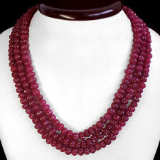 TOP BEST 625.00 CTS NATURAL CARVED 3 STRAND RED RUBY BEADS NECKLACE - GEM EDH