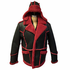 SET! MEN'S SHEEPSKIN SHEARLING COAT & A HAT, COLOR BLACK & RED, SIZE XXL