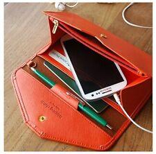 Women Leather ID Holder Envelope Clutch Wallet Phone Snap Purse Cross Pattern