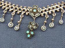 schönes altes Collier Walzgold-Doublé Opal und Perlen ca.um 1900