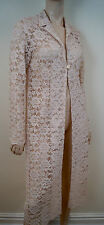 MICHEL AMBERS Off White Nude Floral Lace Collared Long Evening Coat UK10 BNWT