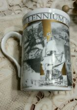 Millennium 1000-2000 mug coffee cup white gray gold historical made in England