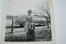 Vintage Mother & Baby Old Fashioned Car 1940s Black & White Photo Photograph