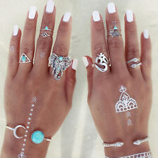 BOHO 6 Pc/Set Turquoise Arrow Moon Elephant Statement Midi Vintage Rings Jewelry