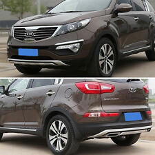 Silver ABS Front + Rear Bumper Protector Guard Cover For KIA 10-15 Sportage