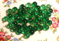 #756 Vintage Beads Glass Drops Dangles Emerald Round Art Deco Green Loop NOS