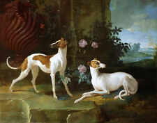 Oil painting Jean-Baptiste Oudry - Misse and Turlu dogs with roses in landscape