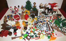 Large Lot of PLAYMOBIL 200+ Pcs Animals (& Babies), Knights, Santas, Weapons