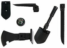 5 In 1 Multi-Purpose Tool - Heavy Steel - Shovel, Saw, Axe, Pick, And Compass