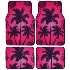 Palm Tree Purple Car Floor Mat 4 PC Set Design Mat Rubber Backing Auto Carpet