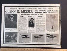 RARE Aviation Stunt Glenn MESSER Phoebe Fairgraves 1921 Fairfield Iowa Broadside