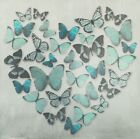 Butterfly Love Heart Teal Metallic Canvas Wall Art Picture 57 cm x 57 cm