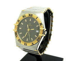"""Diamond OMEGA Constellation Two-Toned 18K Gold St Steel 35mm 6"""" Watch 1392 012"""