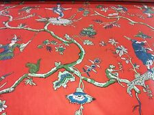 vintage A.L.DIAMENT & CO ASIAN UK HAND PRINT FABRIC coral CHINAMAN IN SWING 5Yds