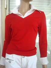 TEE SHIRT POLO/ CHEMISIER 2 EN 1 ROUGE VIF & BLANC NEUF T S/M IDEAL PRINTEMPS