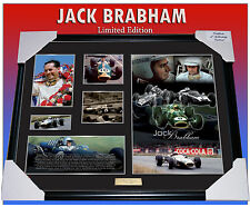 SIR JACK BRABHAM F1 RACING MEMORABILIA FRAMED, LIMITED EDITION 499 w/ C.O.A