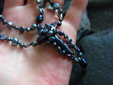 leather necklace BLACK PEARL knotted SILK CROSS pendant 925 sterling silver 21.5