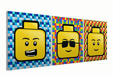 """Lego Heads Set of three 10"""" Mounted Square Canvas Pictures Prints"""