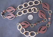 NWOT Large Brown Acrylic and Wooden Beadswith Cunky Gold Chain Continuous Loop