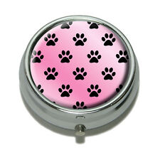 Paw Prints on Parade Pink Pill Case Trinket Gift Box