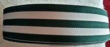 """38mm (1.5"""") wide HUNTING GREEN/WHITE WOVEN STRIPE DOUBLE SIDED RIBBON MILLINERY"""