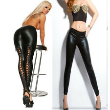 Womens Sexy Black PVC Latex Leggings Goth Faux Leather Lace Up Pants UK 8 10 12