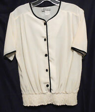 Petite Impressions Ivory White Silky Polyester Sz 8P Bk Trim & But Elastic Bot
