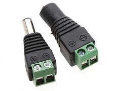 2 Pcs Male Female 2.1x5.5mm DC Power Plug Jack Adapter Connector for CCTV