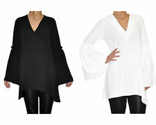 black top-tunic Bell Sleeve top V neck   uk  8 eu 36