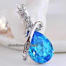 Blue Sapphire Crystal Silver Necklace Teardrop Chain Pendent Xmas Gift For Her