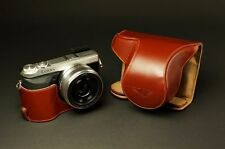 Handmade Real Leather Full Camera Case bag cover for Panasonic GX7  Brown OPEN
