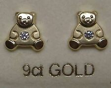 9Ct Gold Cubic Zirkonia Teddy Bär form Ohrstecker