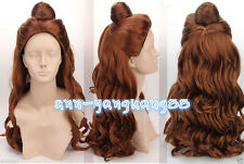 2017 Anime Costume Disney Princess Belle Christmas Synthetic Brown Cosplay Wig