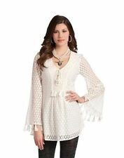 Boho Top L Ivory Tunic Fringe Cream Blouse Women Western Office Business Work
