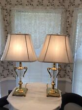 Vintage Brass Lamps With Cyrstal Font  Original Shades With Factory Film