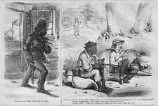 NEGRO SLAVE IN THE NORTH, NEGRO SMOKING PIPE AND CANE-POLE FISHING, MASSA, SLAVE