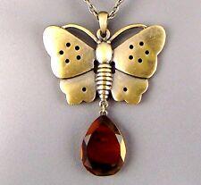 Artisan Chic Brass Butterfly Pendant, Copper Gold Mirror Teardrop Dangle LTD EDT