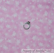 BonEful Fabric FQ Cotton Quilt Pink White Butterfly Calico Dot Baby Girl Nursery