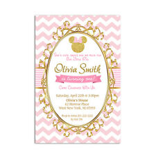Pink and Gold Minnie Mouse personalized Birthday Party Invitation - Printable