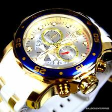 Invicta Pro Diver Scuba Gold Plated Blue Silver Tone White Chronograph Watch New